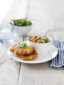 Lentil and corn fritters with tomato and avocado salsa