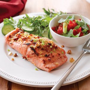 Cashew-crusted salmon with sweet chilli salsa