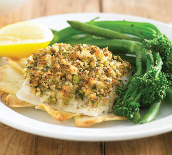 Pistachio and herb crusted fish
