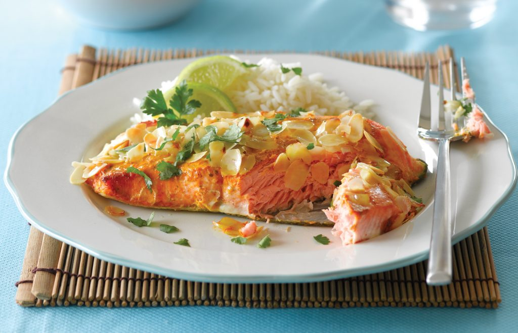 Almond crusted 'tandoori' salmon