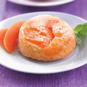 Apricot and almond upside-down puds