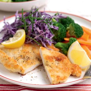 Austrian chicken schnitzel with red cabbage coleslaw