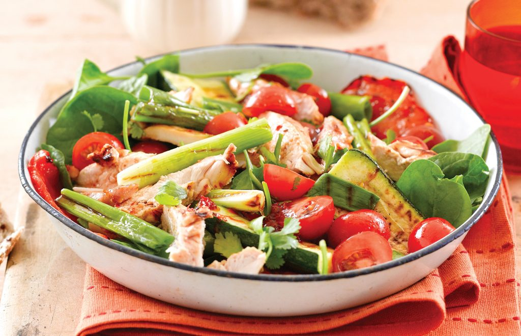 BBQ chicken salad with zingy ginger dressing