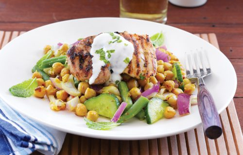 BBQ chicken with spicy chickpeas