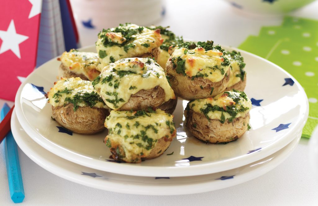 Baked cheesy mushrooms