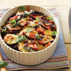 Baked eggplant layer