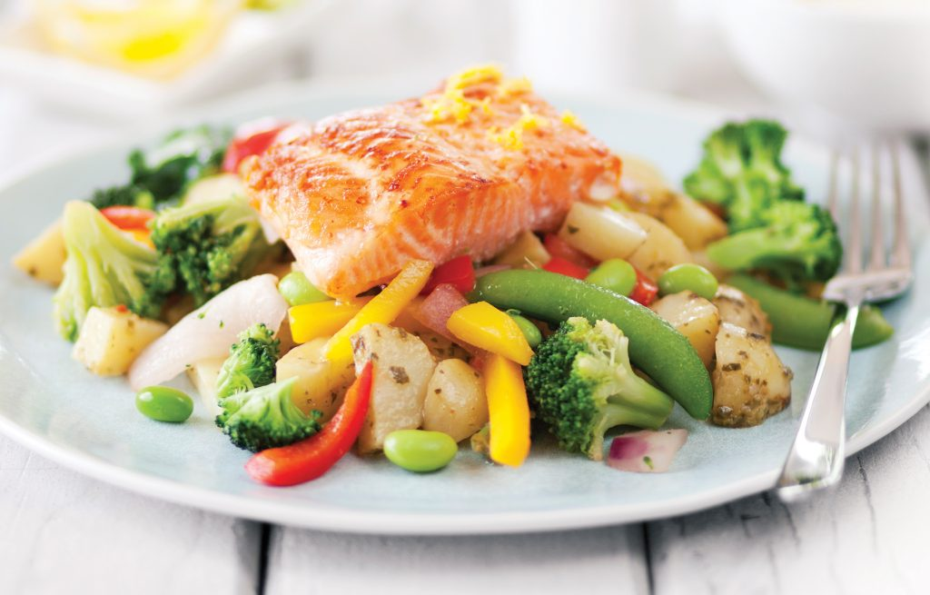 Baked salmon with roasted veges
