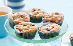 Banana, blueberry and coconut muffins