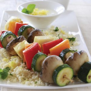 Barbecued haloumi and vegetable kebabs