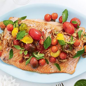 Barbecued salmon with chimichurri sauce
