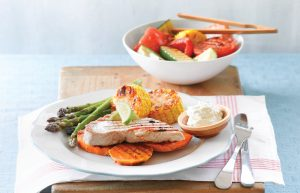 Barbecued veges and tuna with wasabi sauce