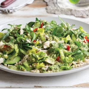 Barley, chicken and mint salad