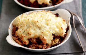 Beef and eggplant pies with parmesan and potato topping