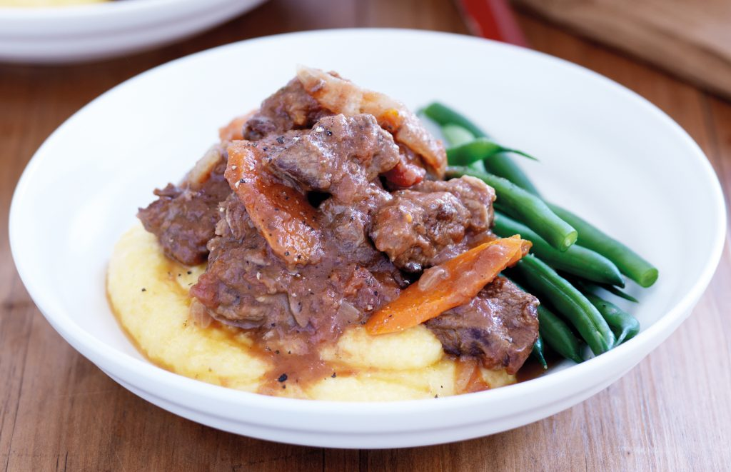 Beef casserole with cheesy polenta