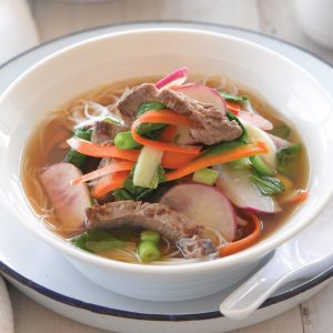 Beef in miso soup