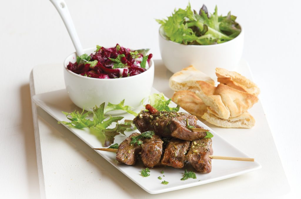 Beef kebabs with minty beetroot dip