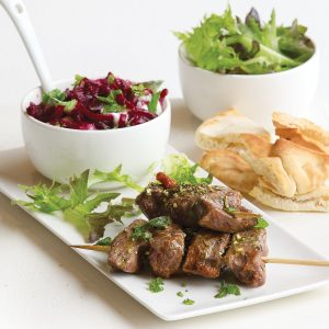 Beef kebabs with minty beetroot dip