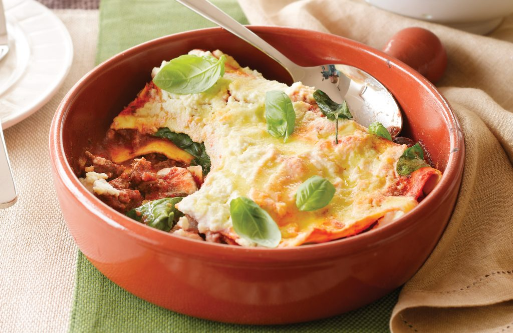 Beef, onion and thyme lasagne
