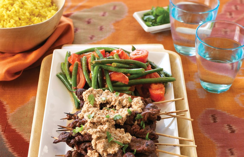 Beef satay with fragrant yellow rice