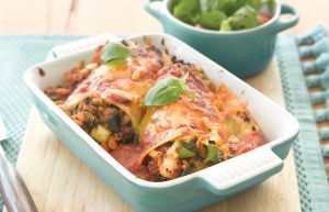 Beef, spinach and feta cannelloni with pine nuts
