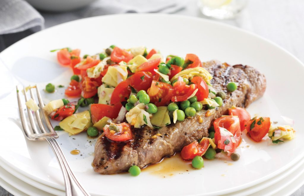 Beef with artichoke and pea salsa
