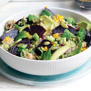 Beetroot, avocado and pumpkin seed quinoa salad