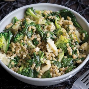 Broccoli and blue cheese barley risotto