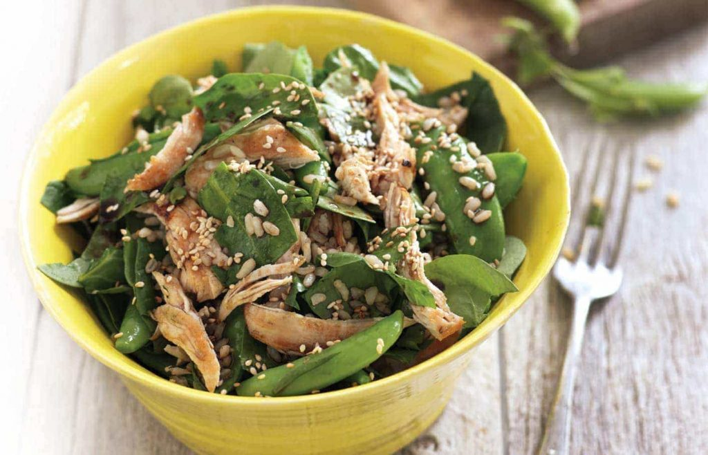 Brown rice and shredded chicken salad