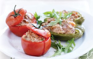 Brown rice, lamb and spice-stuffed vegetables