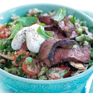 Bulgar wheat fattoush with sumac-spiced lamb