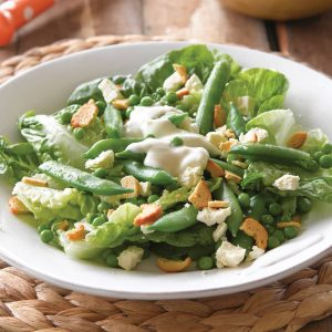 Butter lettuce, pea and feta salad