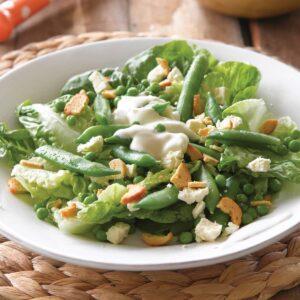 Butter lettuce, pea and feta salad