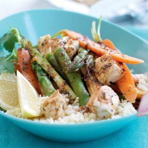 Cajun vegetable and tofu parcels with couscous