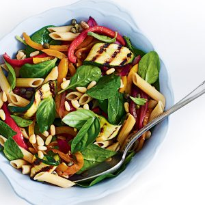 Capsicum and basil pasta salad