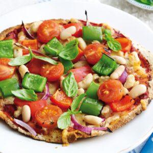 Capsicum and bean pizza