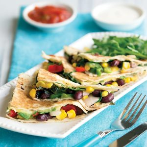Capsicum, rocket and mozzarella quesadillas