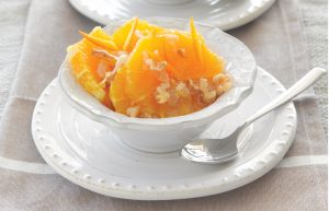 Caramelised oranges with ginger and walnuts