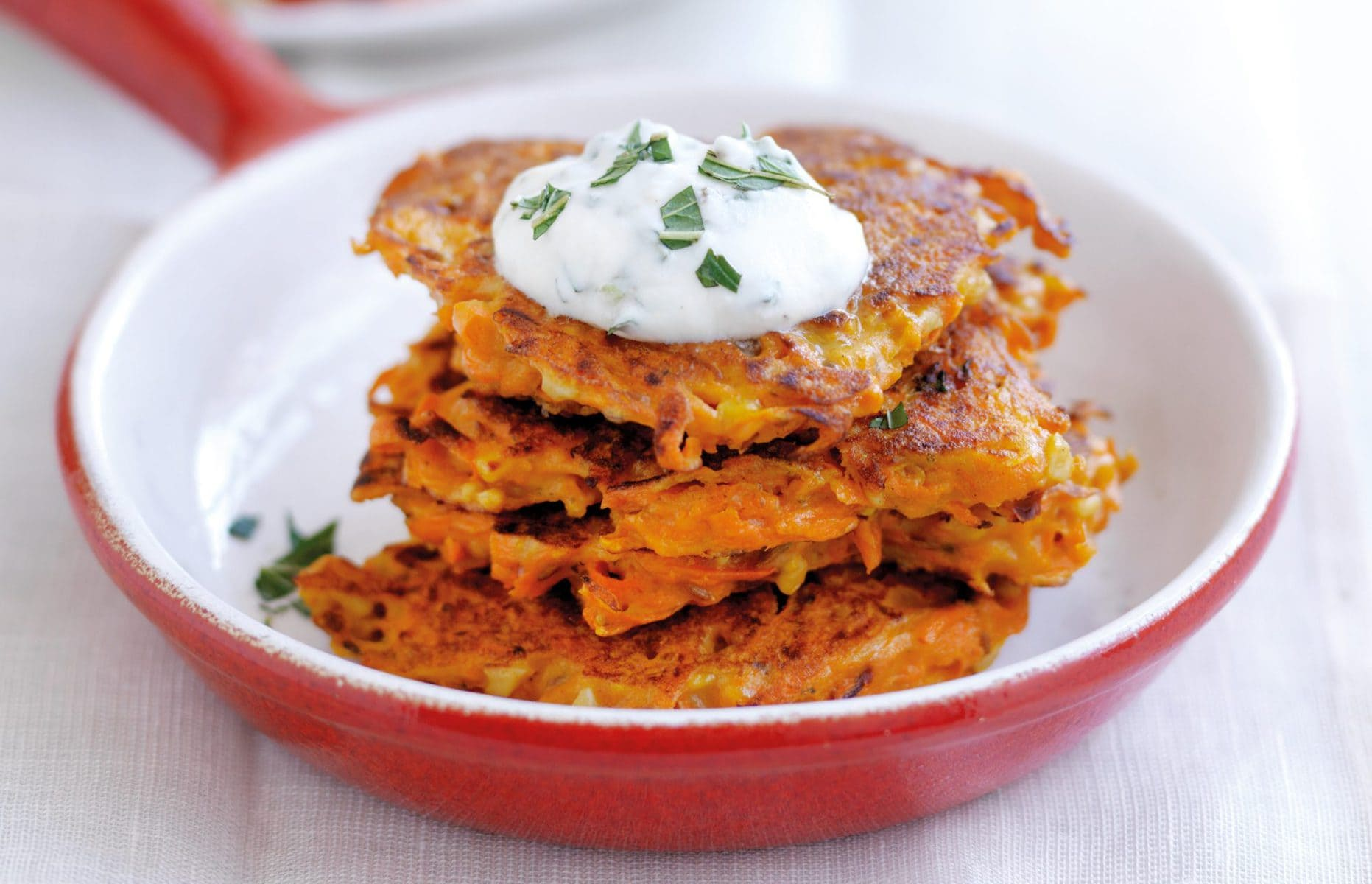 Carrot and feta fritters