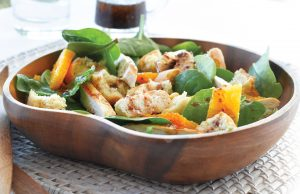 Chargrilled chicken, orange and spinach salad
