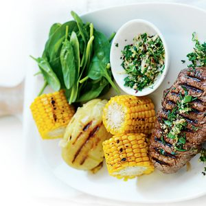 Chargrilled steaks with hazelnut gremolata