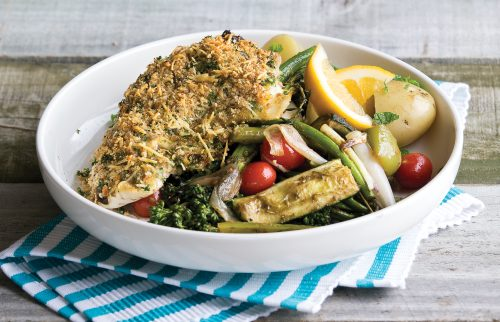 Cheesy crumbed fish steak with chargrilled veges and potatoes