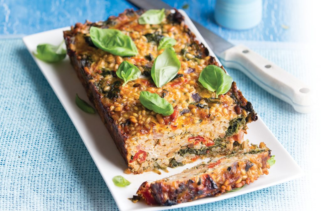 Cheesy pine nut barley loaf with warm baby vegetable salad
