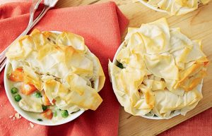 Chicken and leek filo pies