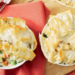 Chicken and leek filo pies