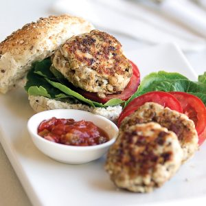Chicken and lentil burgers with salsa