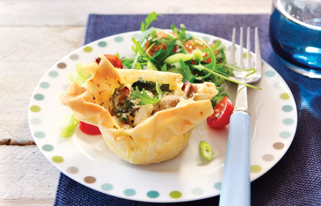 Chicken and mushroom filo pies