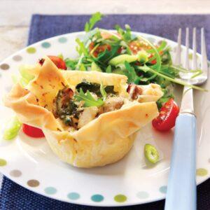 Chicken and mushroom filo pies
