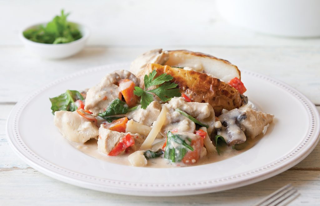 Chicken and mushrooms in white wine
