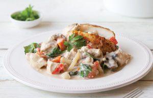 Chicken and mushrooms in white wine