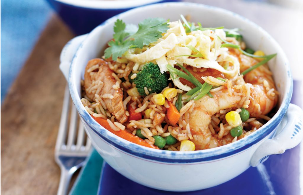 Chicken and prawn fried rice